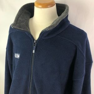 CCM navy mock neck fleece polar zip up sweater XXL